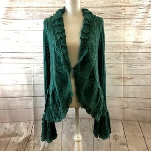 Moth Ruffled open cardigan with flounce sleeves